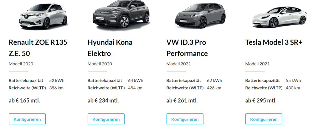 Screenshot der Auswahl an E-Autos beim Autoabo-Anbieter INSTADRIVE
