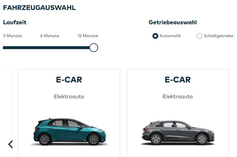 Screenshot mit E-Cars und Laufzeitlängen-Filter zur Auswahl eines Kfz beim Porsche Bank autoabo