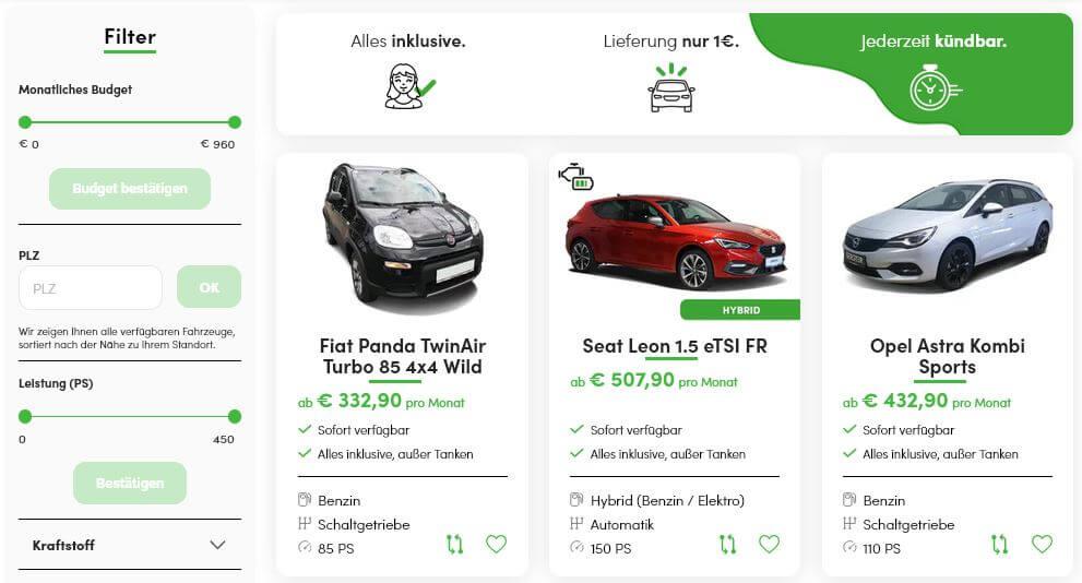 Suchformular für Kfz im Autoabo von ViveLaCar