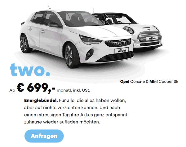 Foto eines Opel Corsa-e und Mini Cooper SE, Fahrzeuge der Abo-Klasse Zwei für E-Cars vom Autoabo-Anbieter vibe