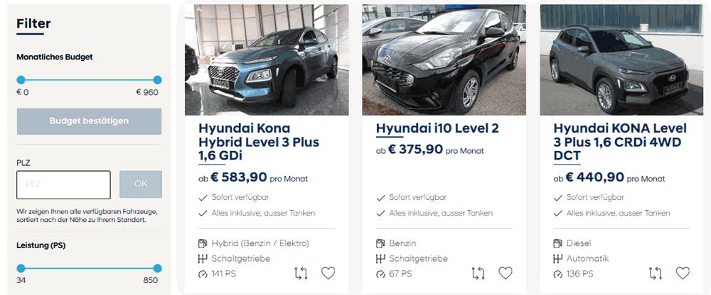 Buchungsformular für Autos vom Hyundai Abo. Bild: Screenshot Webseite Hyundai Abo