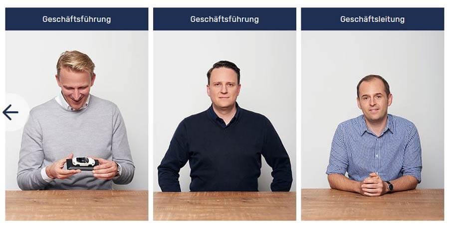 Portraitfotos der MeinAuto.de-Geschäftsführer Marco Steinfatt, Thomas Eichenberg und Sebastian Müller