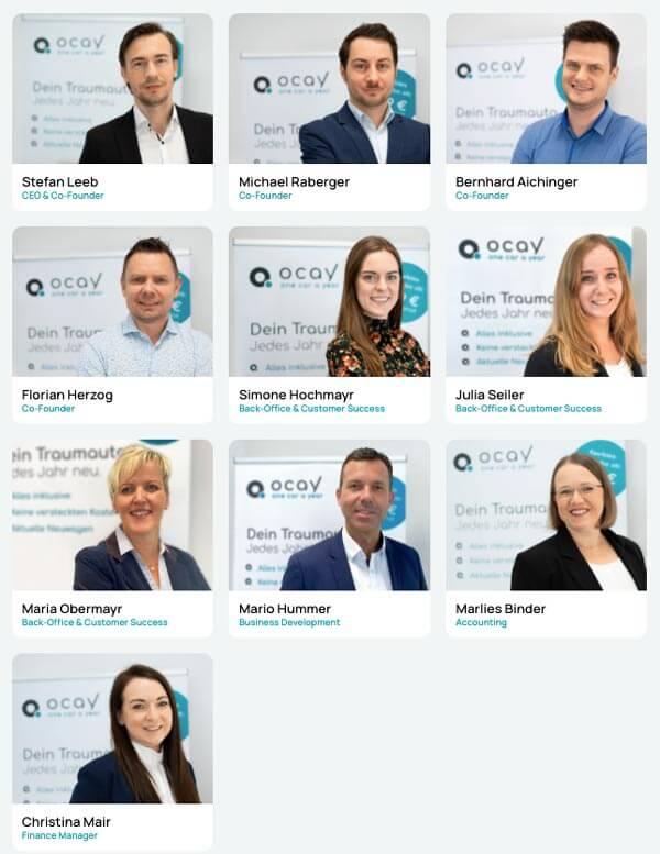 Portraitfotos des achtköpfigen Teams vom Autoabo-Anbieter ocay